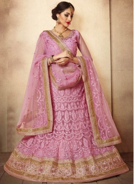 Masterly Pink Color Stone Work Wedding Lehenga Choli