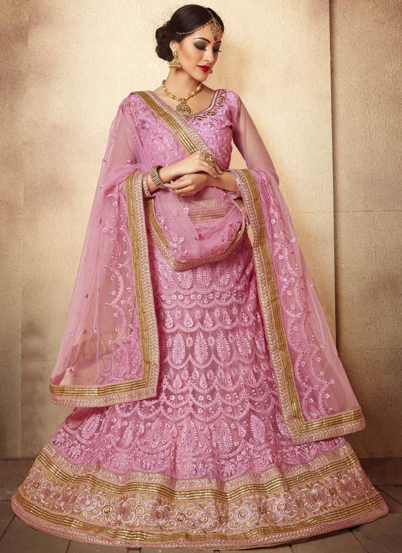 Masterly Pink Color Stone Work Wedding Lehenga Choli