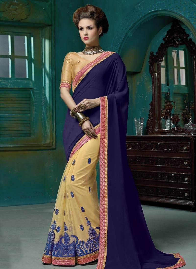 Masterly Pure Georgette Half N Half Designer Saree