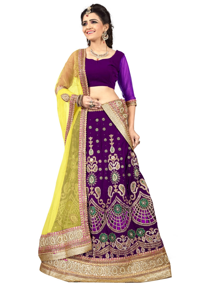 Masterly Purple Color Cut Work Bridal Lehenga Choli
