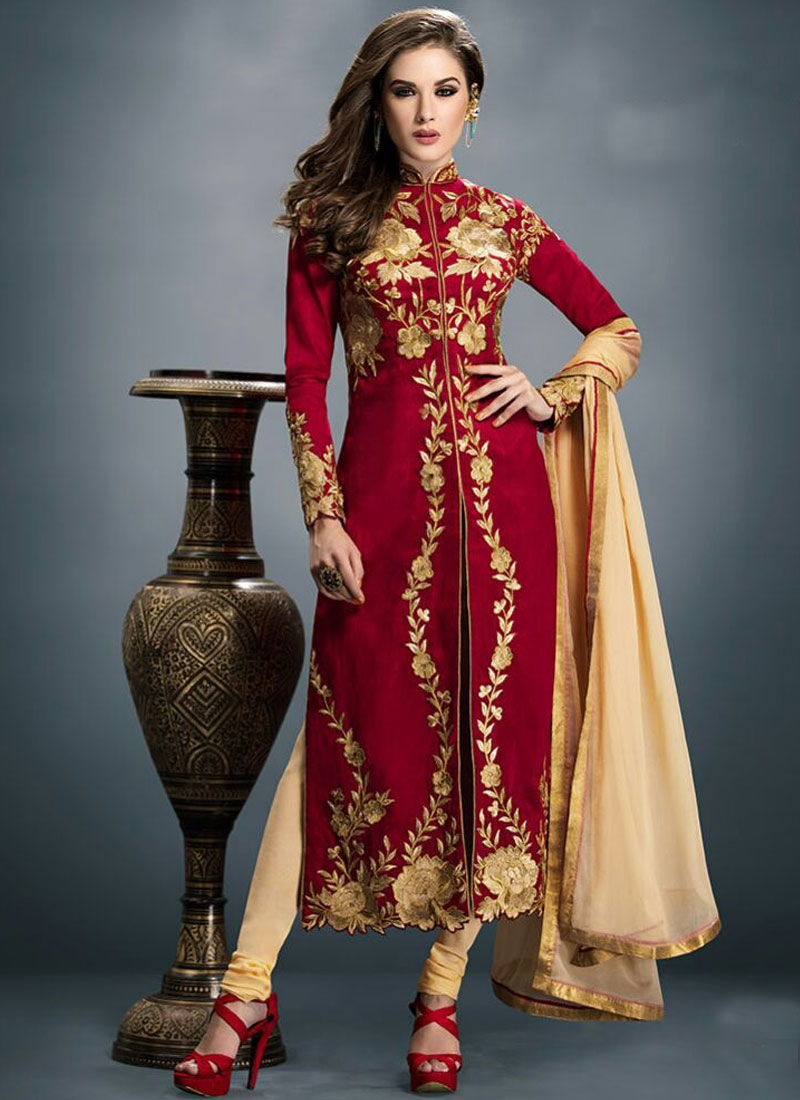 Masterly Red Color Faux Georgette Party Wear Suit