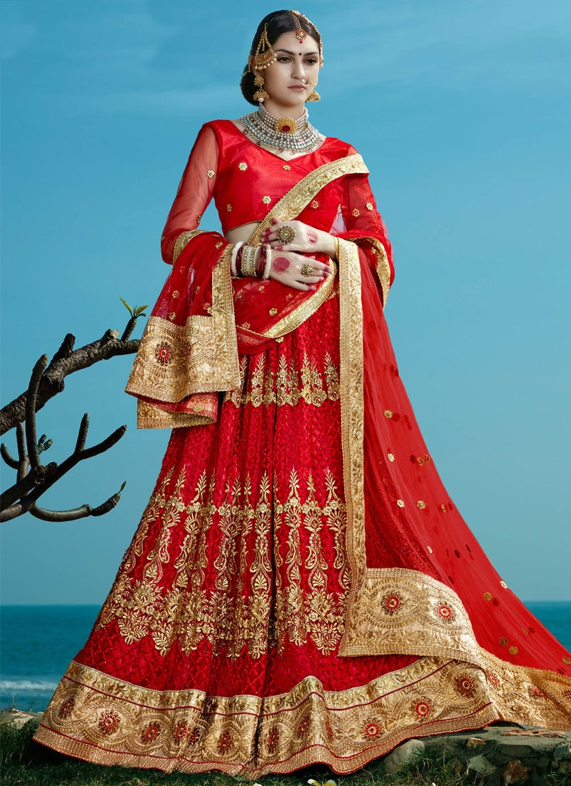 Masterly Red Color Net Bridal Lehenga Choli