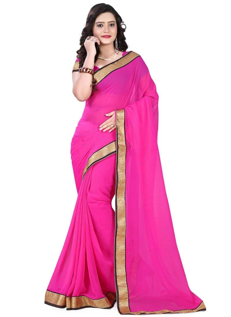 Masterly Resham Work Faux Chiffon Casual Saree