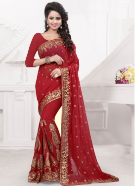 Masterly Resham Work Faux Georgette Designer Saree