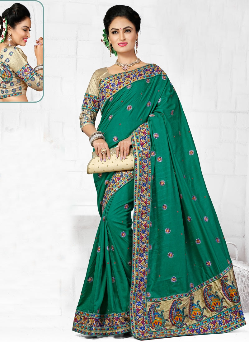Masterly Resham Work Manipuri Silk Wedding Saree