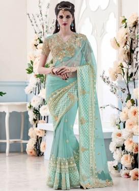 Masterly Sequins And Resham Work Net Wedding Saree