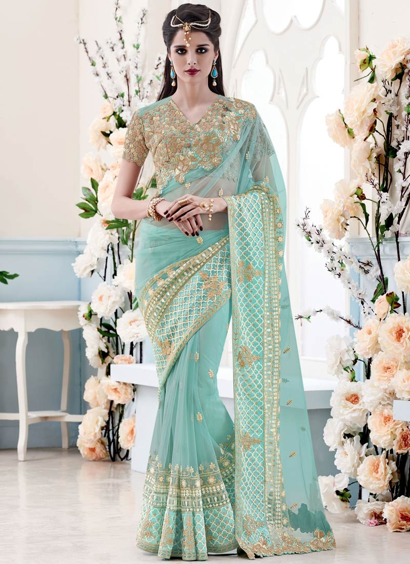 Masterly Sequins And Resham Work Net Wedding Saree