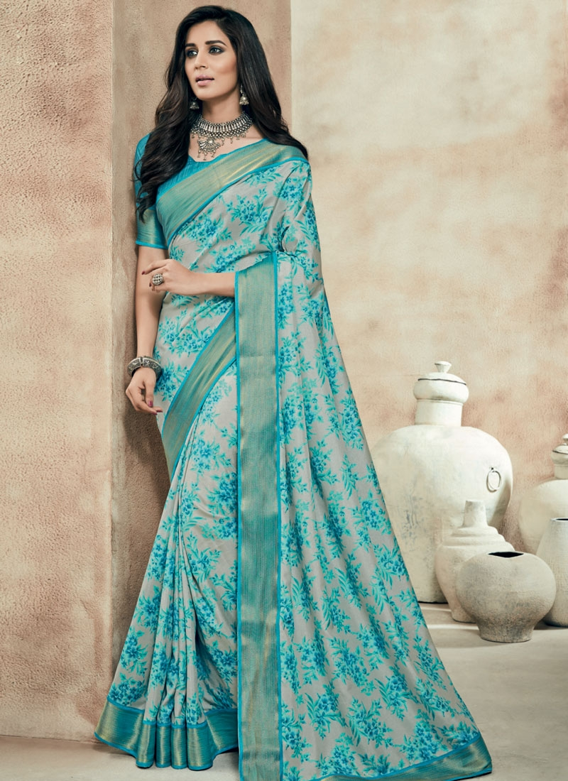 Masterly Silver And Aqua Blue Color Party Wear Saree
