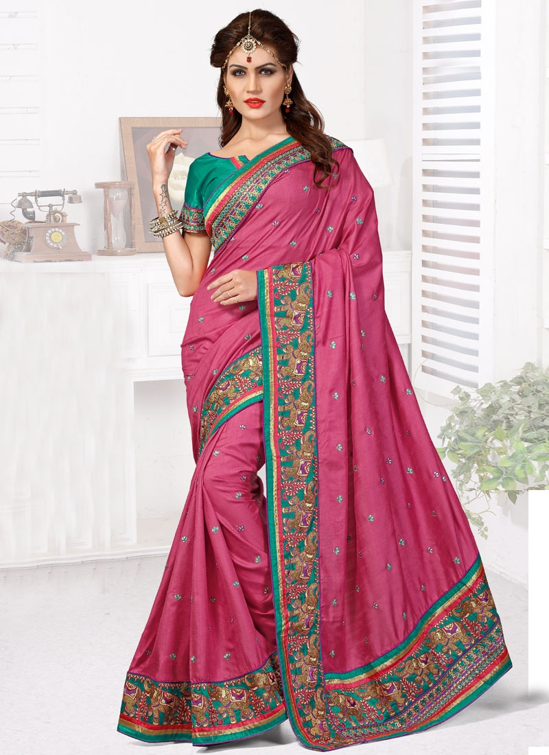 Masterly Stone Work Manipuri Silk Wedding Saree