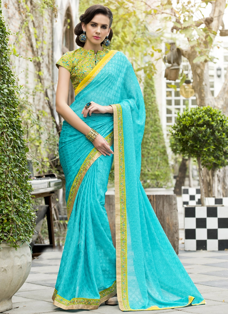 Masterly Turquoise Color Resham Work Party Wear Saree