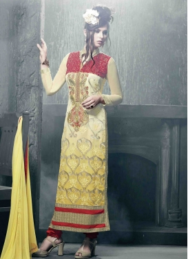 Masterly Yellow Color Lace Work Pakistani Salwar Kameez
