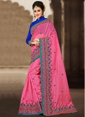 Mesmeric Chanderi Silk Embroidered Work Trendy Classic Saree For Festival