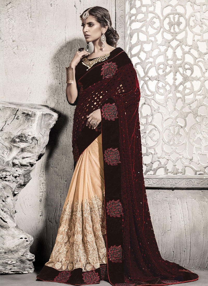 Mesmeric Cut And Stone Work Half N Half Wedding Saree