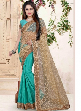 Mesmeric Embroidered Work Designer Half N Half Saree