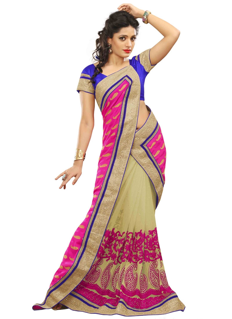 Mesmeric Embroidery Work Half N Half Wedding Saree