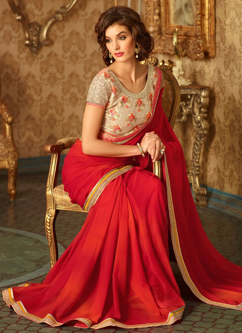 Mesmeric Faux Georgette Red Color Party Wear Saree