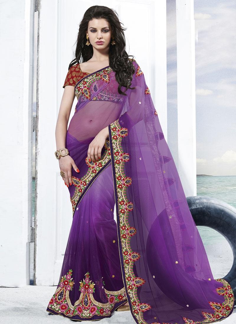 Mesmeric Floral Work Net Wedding Saree