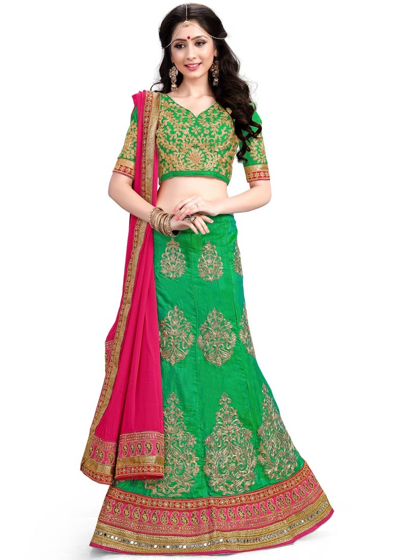 Mesmeric Green Color Booti Work Designer Lehenga Choli