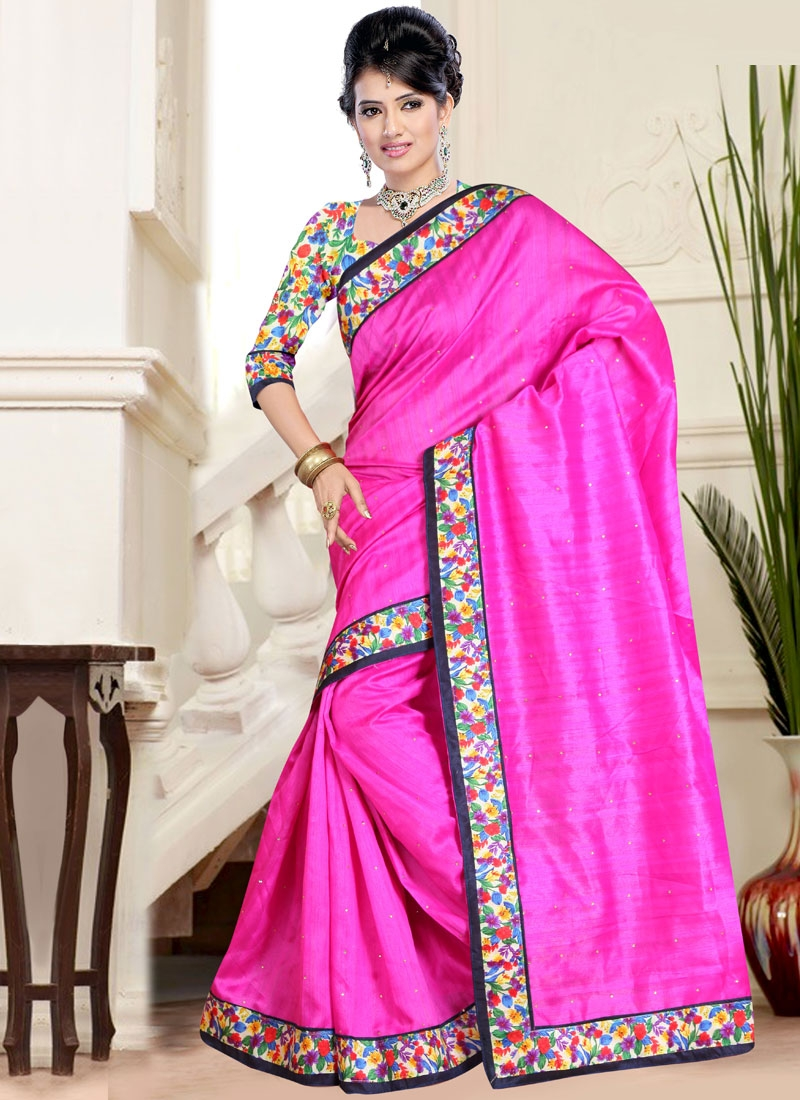 Mesmeric Lace Work Rose Pink Color Casual Saree