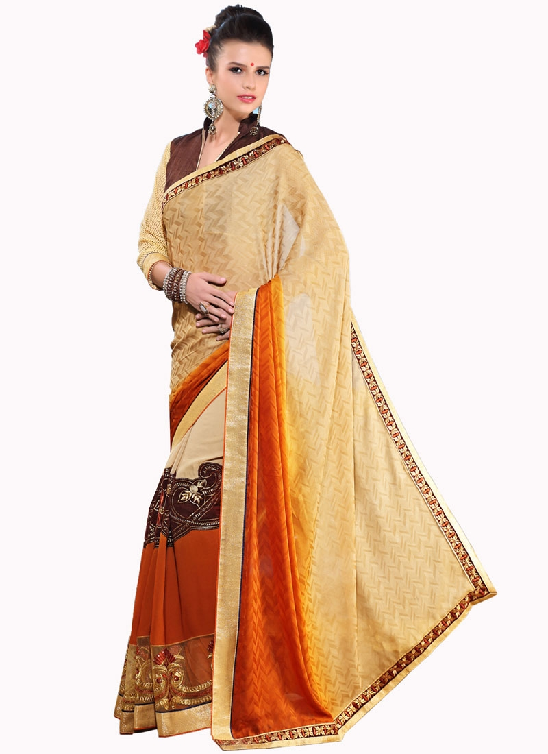 Mesmeric Patch Border Work Party Wear Saree
