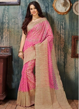 Mesmeric Resham Work Beige and Hot Pink Trendy Saree