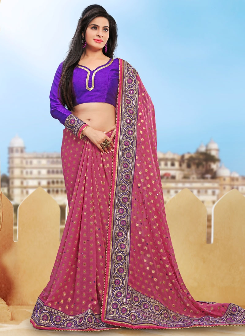 Mesmeric Stone And Mirror Work Designer Saree