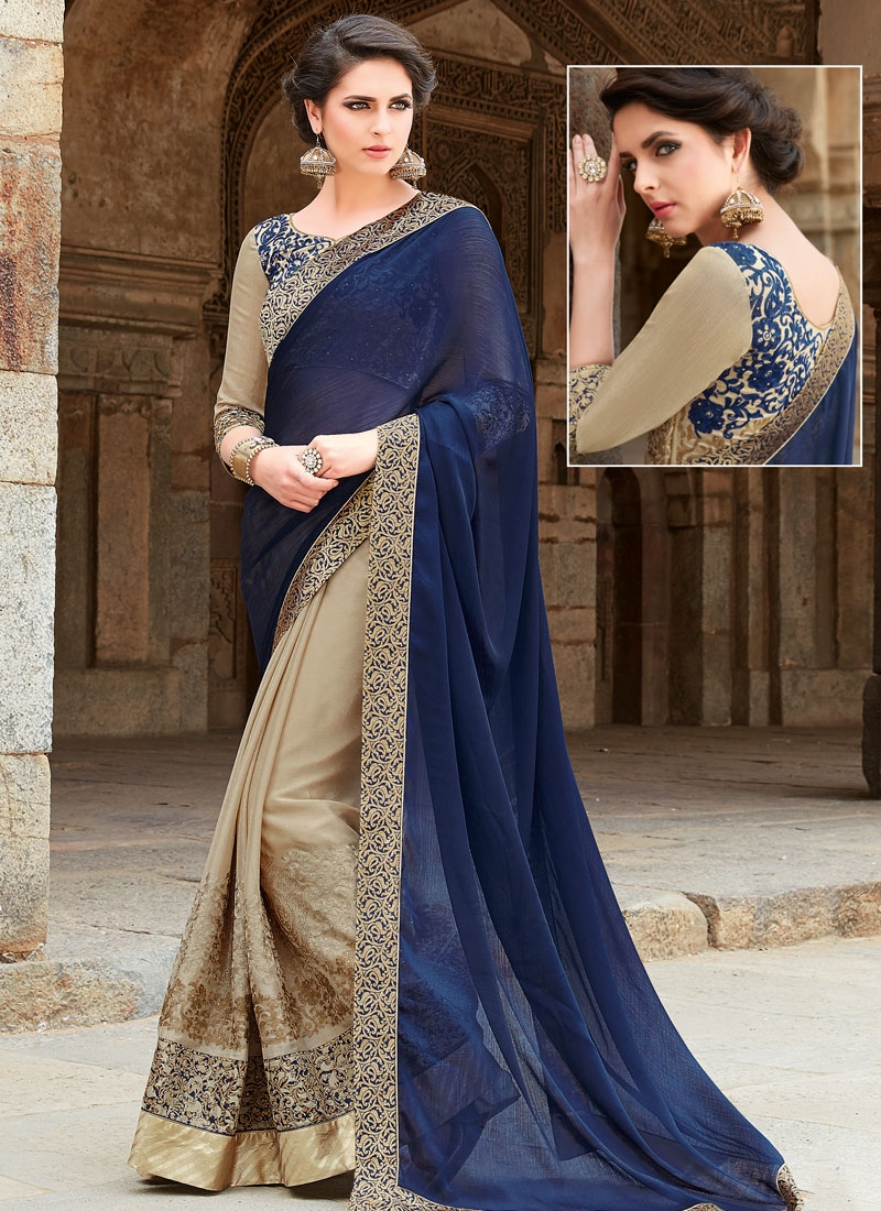 Mesmeric Stone Work Fancy Fabric Half N Half Designer Saree
