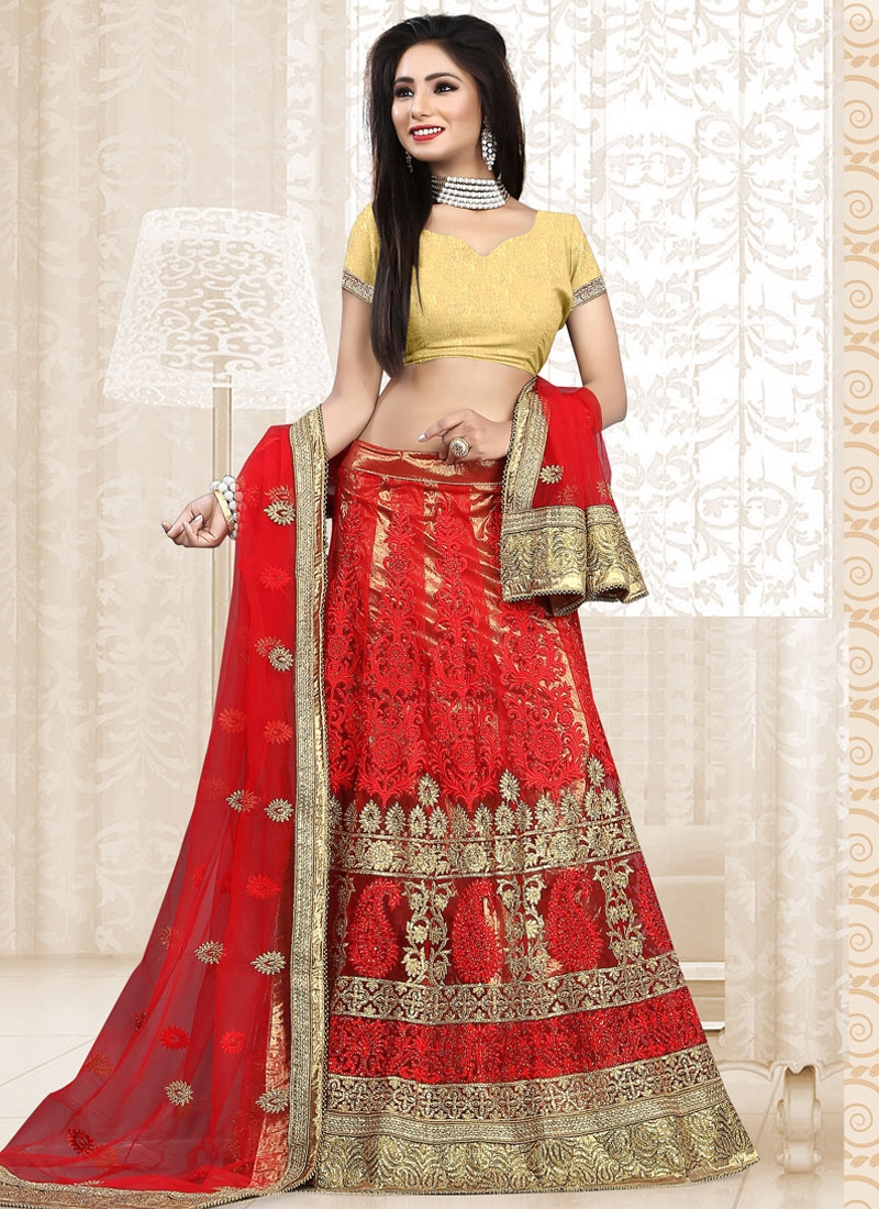 Mesmeric Stone Work Red Color Net Bridal Lehenga Choli