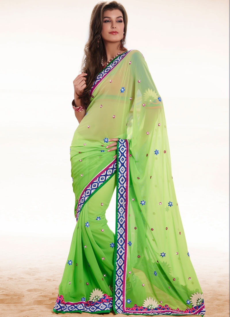Mesmerizing Aloe Vera Green Faux Georgette Saree