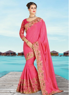 Mesmerizing Banarasi Silk Embroidered Work Contemporary Style Saree