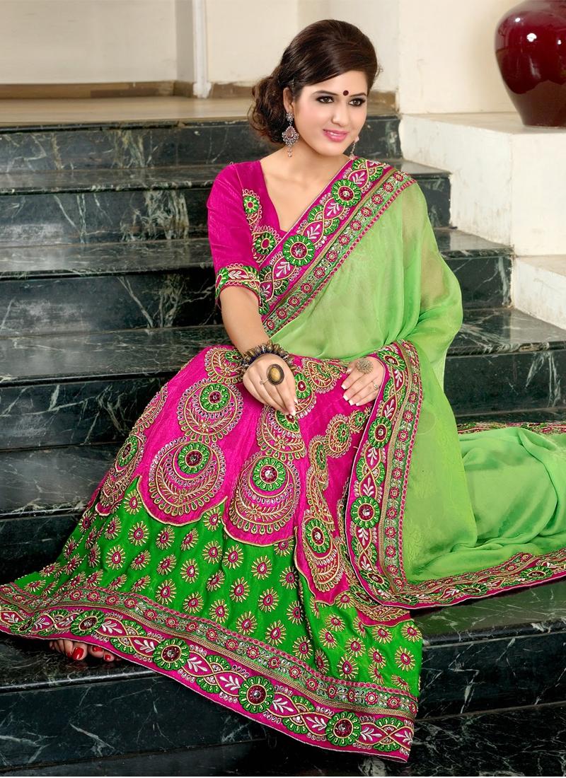 Mesmerizing Banarasio Silk And Chiffon Lehenga Saree