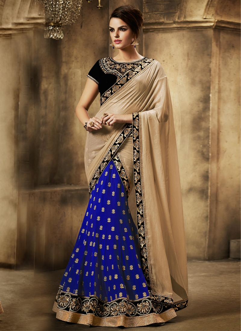 Mesmerizing Blue And Beige Color Lehenga Saree