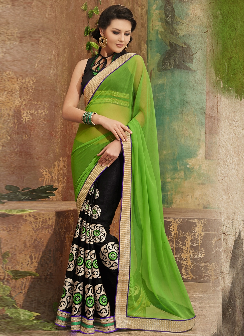 Mesmerizing Chiffon And Velvet Half N Half Saree