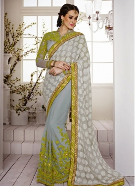 Mesmerizing Floral And Lace Work Half N Half Saree