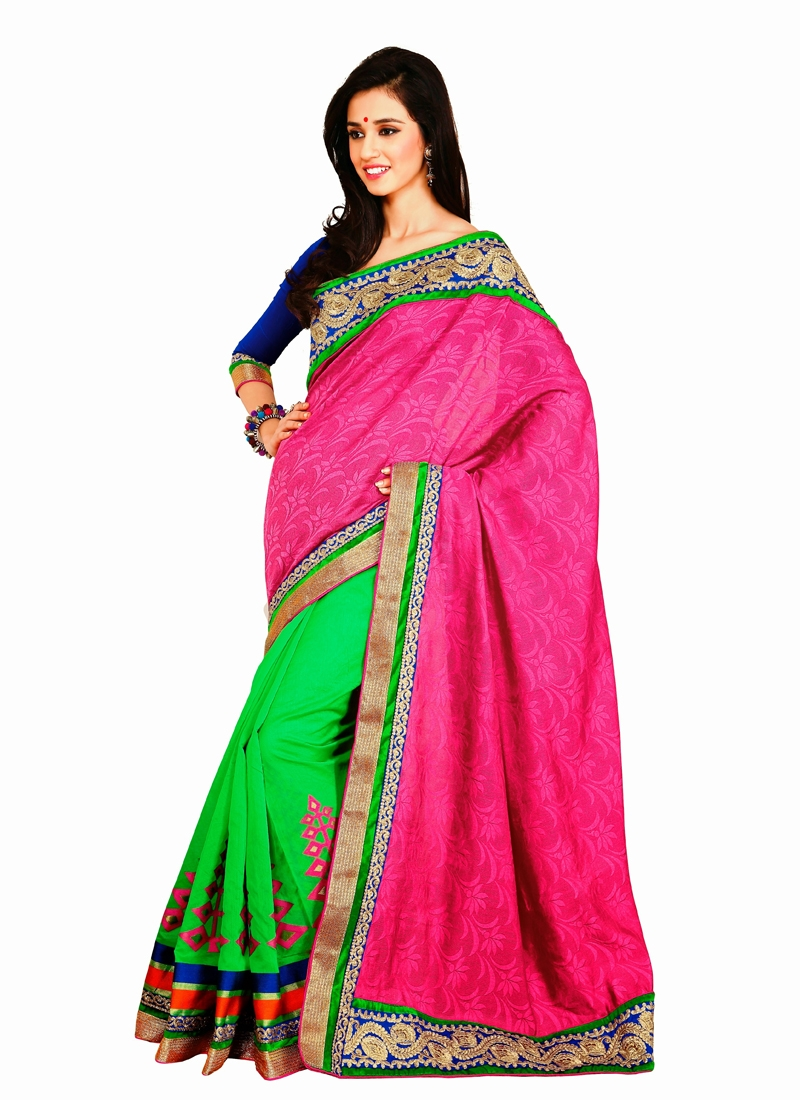 Mesmerizing Jacquard And Silk Half N Half Saree