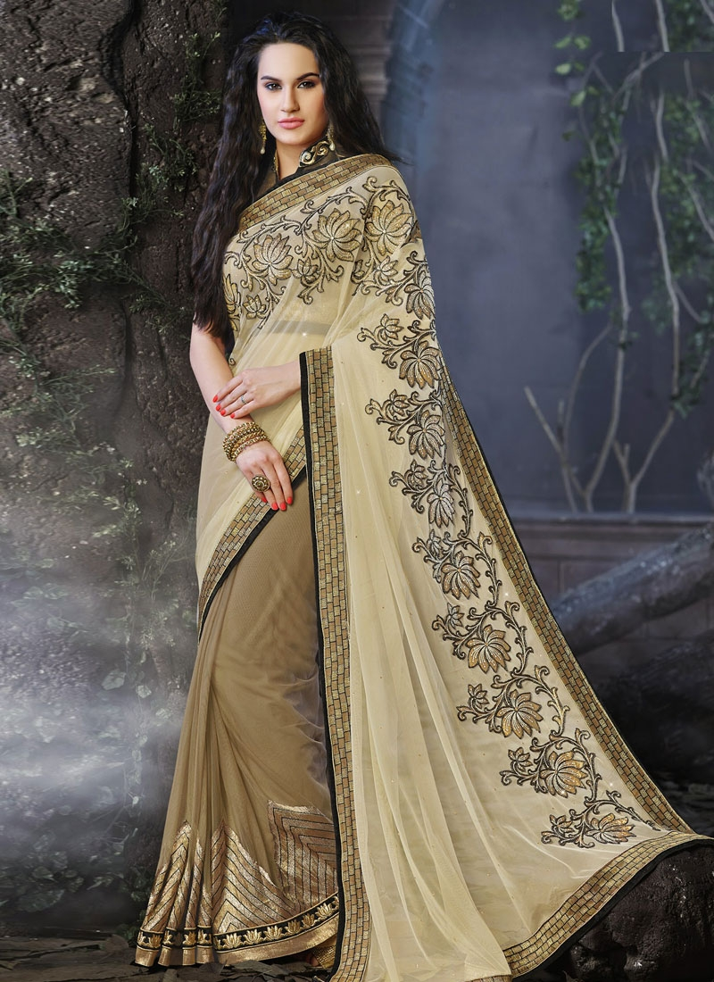 Mesmerizing Lace And Resham Work Half N Half Party Wear Saree