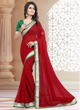 Mesmerizing Lace Work Crimson Color Casual Saree