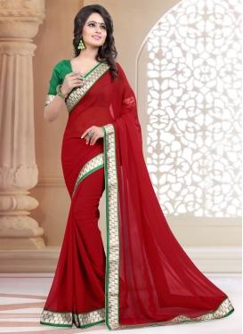 Mesmerizing Lace Work Crimson Color Casual Saree