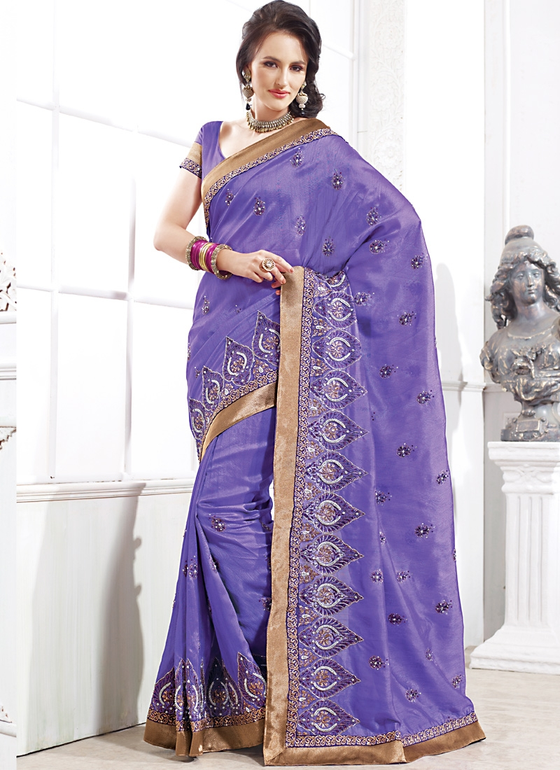Mesmerizing  Lavender And Brown Color Saree