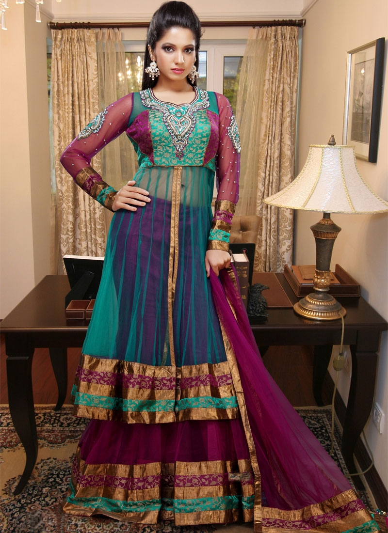 Mesmerizing Maroon And Turquoise Net Lehenga Choli