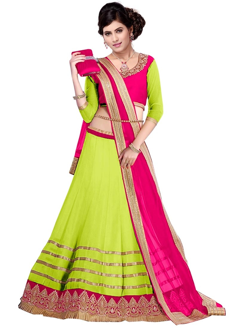 Mesmerizing Mint Green And Rose Pink Color Party Wear Lehenga Choli