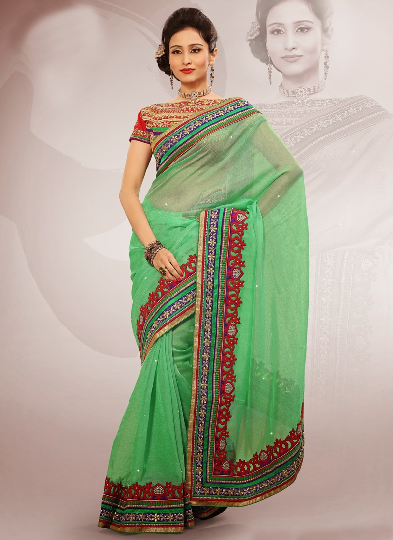 Mesmerizing Mint Green Color Party Wear Saree