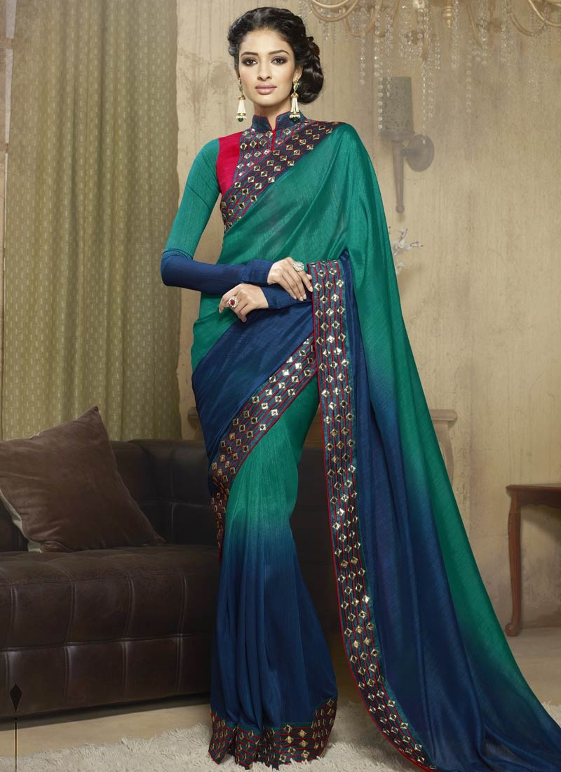 Mesmerizing Mirror And Lace Work Party Wear Saree