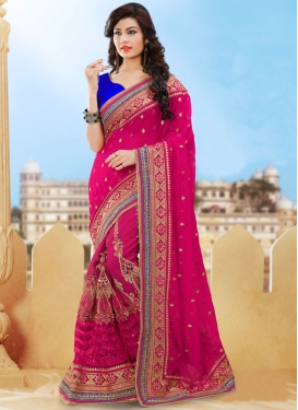Mesmerizing Mirror And Patch Border Work Bridal Saree