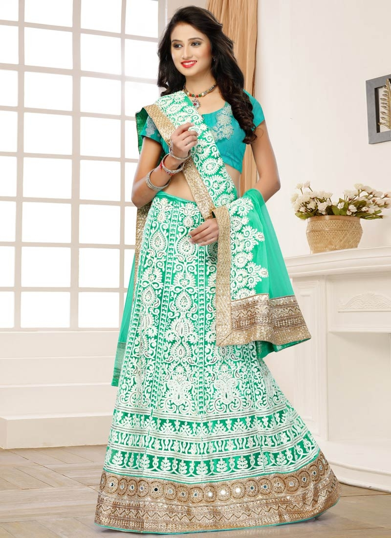 Mesmerizing Mirror And Stone Work Bridal Lehenga Choli