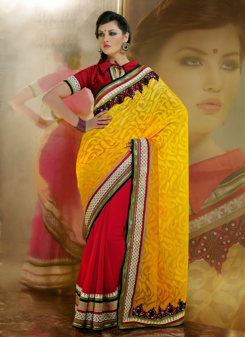 Mesmerizing Red And Yellow Color Half N Half Saree