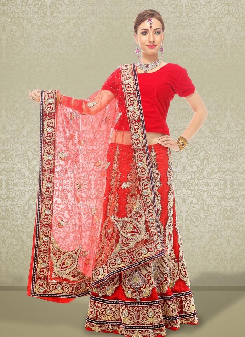 Mesmerizing Red Net Bridal Lehenga Choli