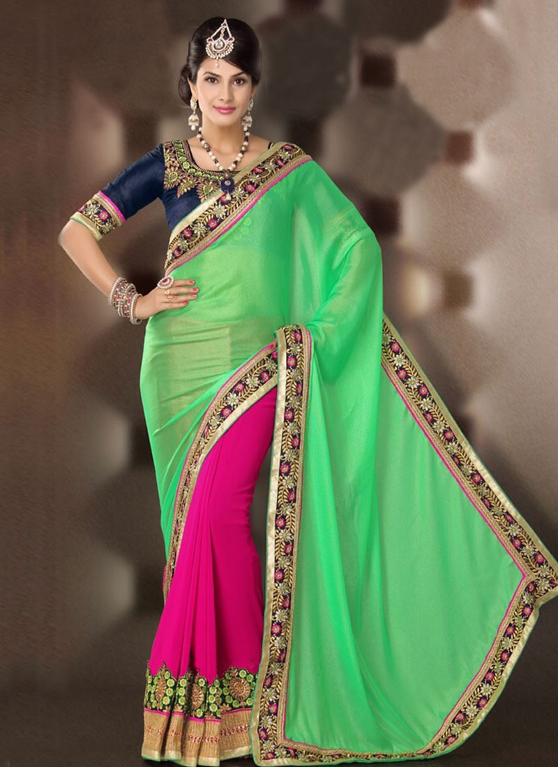 Mesmerizing Resham And Patch Work Half N Half Party Wear Saree