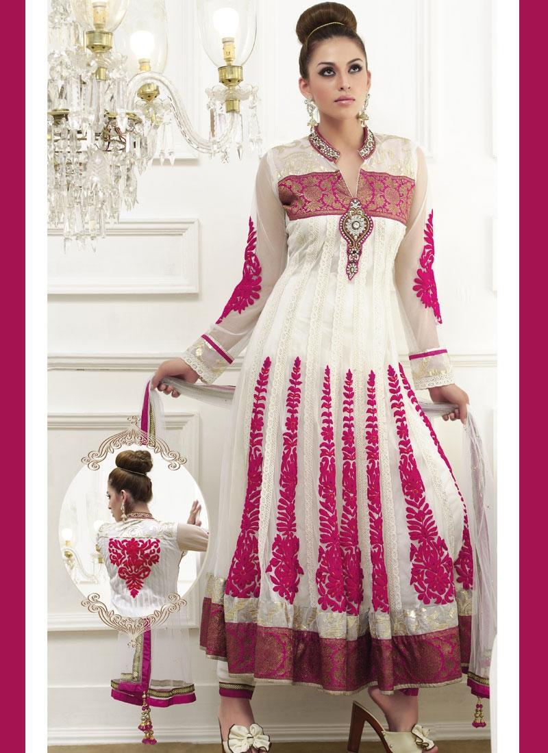 Mesmerizing Rose Pink And Off White Salwar Kameez