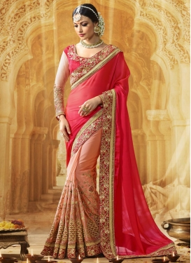 Mesmerizing Rose Pink and Salmon Half N Half Saree